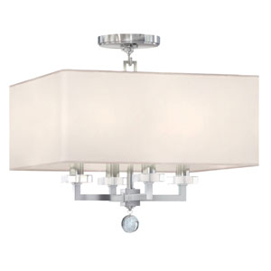 Paxton Polished Nickel Four Light Semi Flush Mount