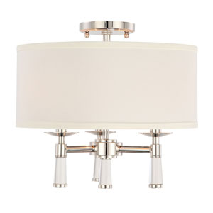 Baxter Polished Nickel Three-Light Ceiling Mount