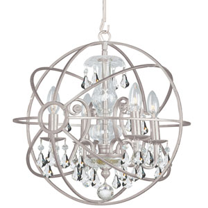 Solaris Olde Silver Four Light Mini-Chandelier with Clear Swarovski Strass Crystal