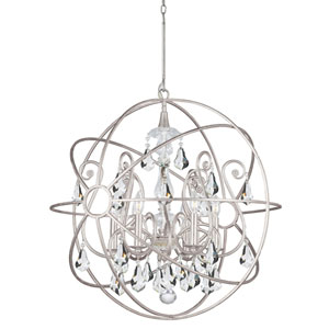 Solaris Olde Silver Six Light Chandelier with Clear Swarovski Strass Crystal