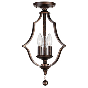 Parson English Bronze Three Light Semi-Flush Mount
