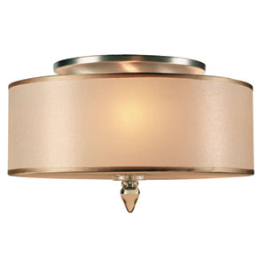 Luxo Antique Brass Three-Light Semi Flush Mount