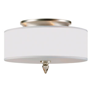 Luxo Satin Nickel Three-Light Semi Flush Mount