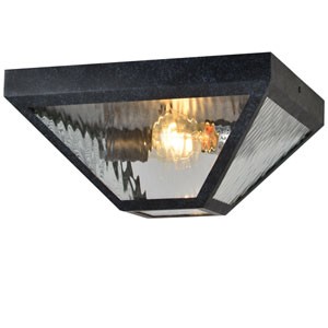Glacier Two-Light Black Charcoal Outdoor Ceiling Mount