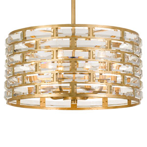 Meridian Six-Light Antique Gold Chandelier