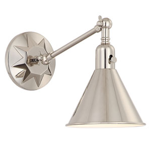 Morgan One-Light Polished Nickel Wall Sconce