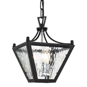Park Hill Three-Light Matte Black and Polished Chrome Lantern