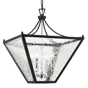 Park Hill Four-Light Matte Black and Polished Chrome Lantern