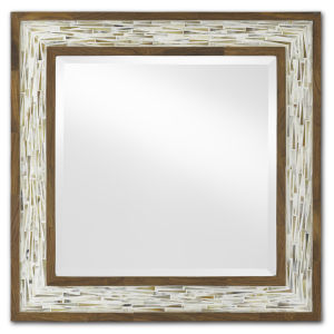 Aquila White and Pecan Small Wall Mirror