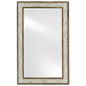 Aquila White and Pecan Large Wall Mirror