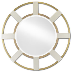 Camille Cream and Brushed Brass Round Wall Mirror