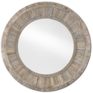 Kanor Whitewash Round Wall Mirror