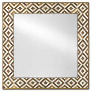 Persian Tan and White Small Wall Mirror