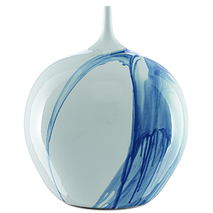 Sora Blue and White 19-Inch Porcelain Vase