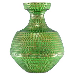 Nallan Antique Brass and Green Vase