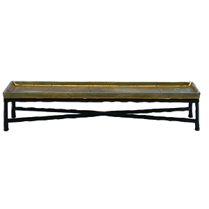 Antique Brass and Black 26-Inch Tray