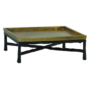 Antique Brass and Black 12-Inch Tray