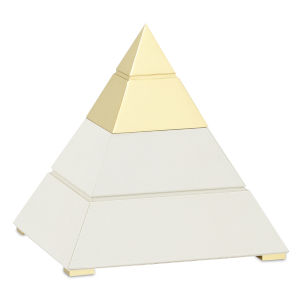 Mastaba White and Polished Brass Small Pyramid