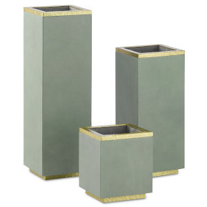 Mendocina Green Bay and Satin Brass Container, Set of 3