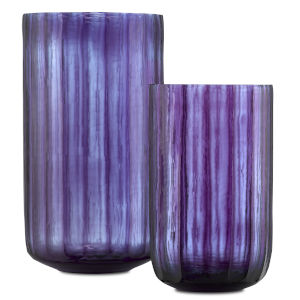Hyacinth Amethyst and Light Blue Vase, Set of 2