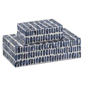 Indigo Navy and White Box, Set of 2