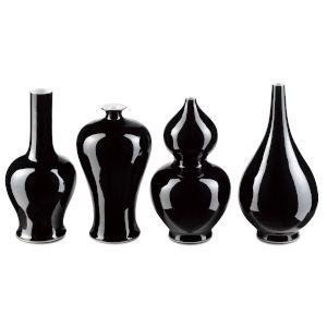 Imperial Black Vase, Set of 4