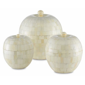 Mughal Natural and White Round Box, Set of 3