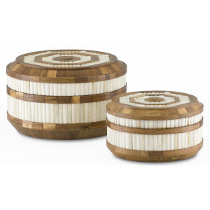 Banjhara Natural and White Round Box, Set of 2