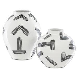 Cipher White and Black Vase, Set of 2