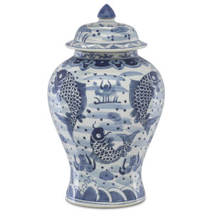 Ming Blue and White Temple Jar