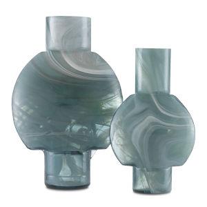 Lollipop Sea Blue Ivory Glass Vase, Set of Two