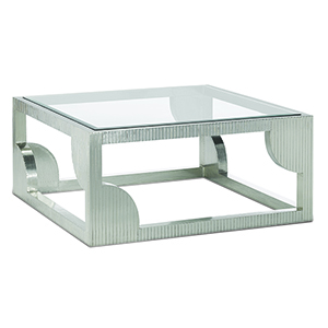 Morneau Silver 40-Inch Cocktail Table with Mirror Top