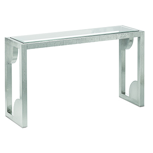 Silver Console Table with Mirror Top