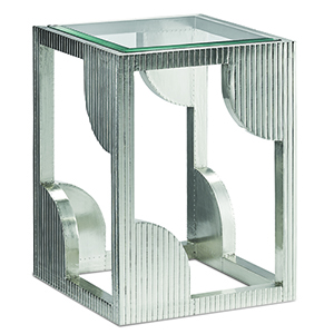 Morneau Silver Side Table with Mirror Top
