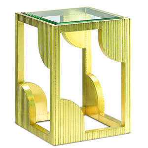 Brass Side Table with Mirror Top