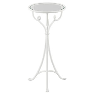 Cyrilly Gesso White and Clear Drinks Table