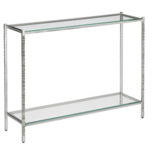 Logan Light Antique Silver and Clear Console Table