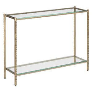 Logan Light Antique Gold and Clear Console Table