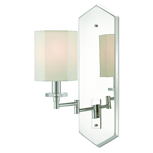 Hopper Polished Nickel One-Light Swing Arm Wall Sconce
