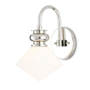 Rycroft Polished Nickel and White One-Light Wall Sconce