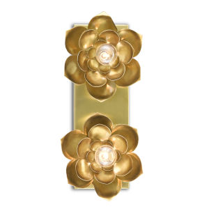 Blossom Satin Brass Two-Light Wall Sconce