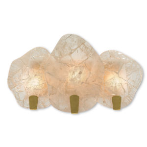 Nightfall Rock Crystal and Gold Three-Light Wall Sconce