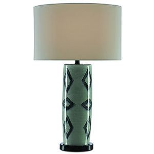 Greer Light Gray Crackle and Satin Black One-Light Table Lamp
