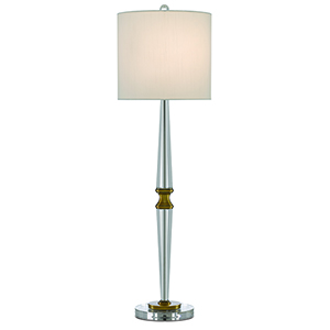 Klar Clear and Antique Brass One-Light 37-Inch Table Lamp