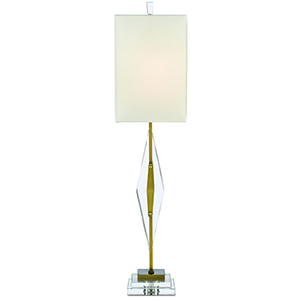 Amita Clear and Antique Brass One-Light Table Lamp