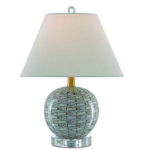 Fisch Gray White and Antique Nickel One-Light Table Lamp