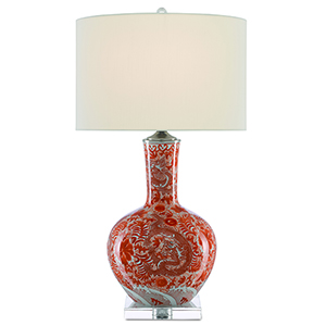 Sheng Mandarin Red and Polished Nickel One-Light Table Lamp