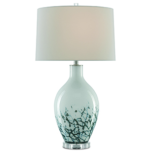 Elysian Aqua Clear and Polished Nickel One-Light Table Lamp
