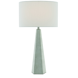 Primordial Antique White Shagreen and Polished Nickel One-Light Table Lamp