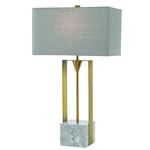 Imperium Light Antique Brass and White One-Light 32-Inch Table Lamp